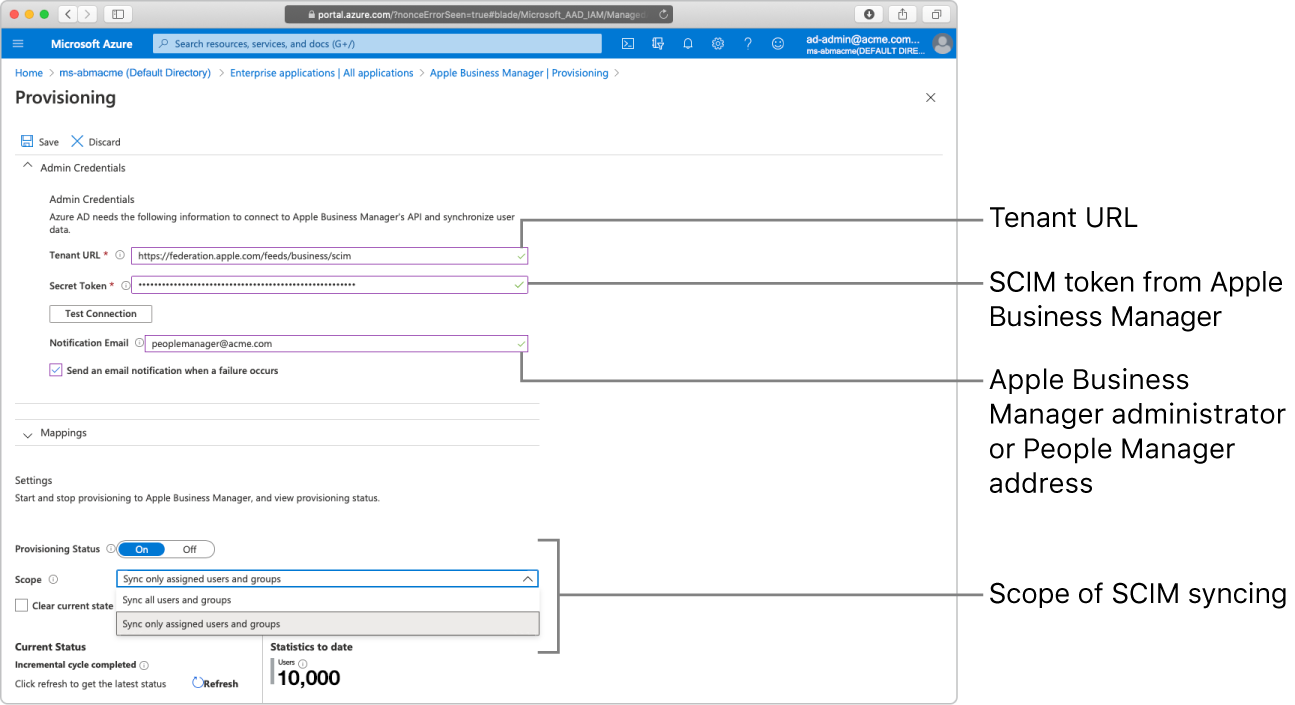 Microsoft Azure AD window showing the two provisioning scope options.