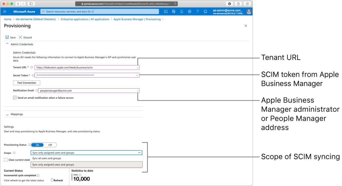 Ventana de Microsoft Azure AD donde se muestran las dos opciones de ámbito de aprovisionamiento.