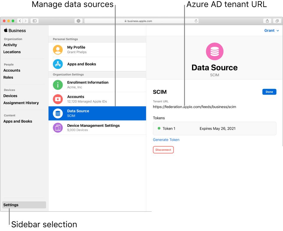 사이드바에 설정이 선택되어 있는 AppleBusinessManager 윈도우입니다. 활성 SCIM 연결이 표시된 데이터 원본 패널입니다.