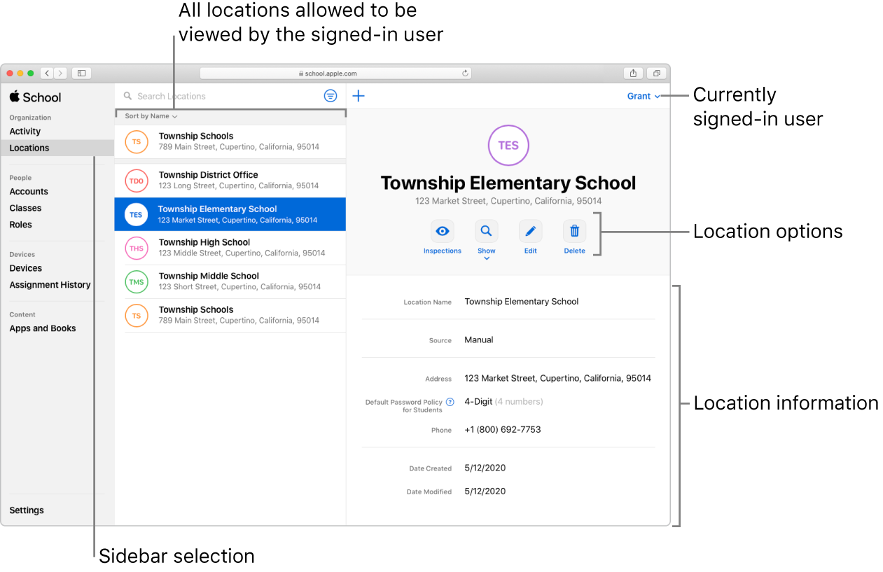 The Locations window in Apple School Manager, showing location options and location information for a selected organization.