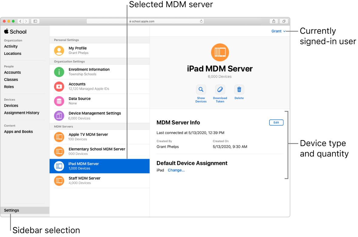 La ventana de AppleSchoolManager, con Ajustes seleccionado en la barra lateral. Un servidor seleccionado se abre con información sobre dicho servidor.