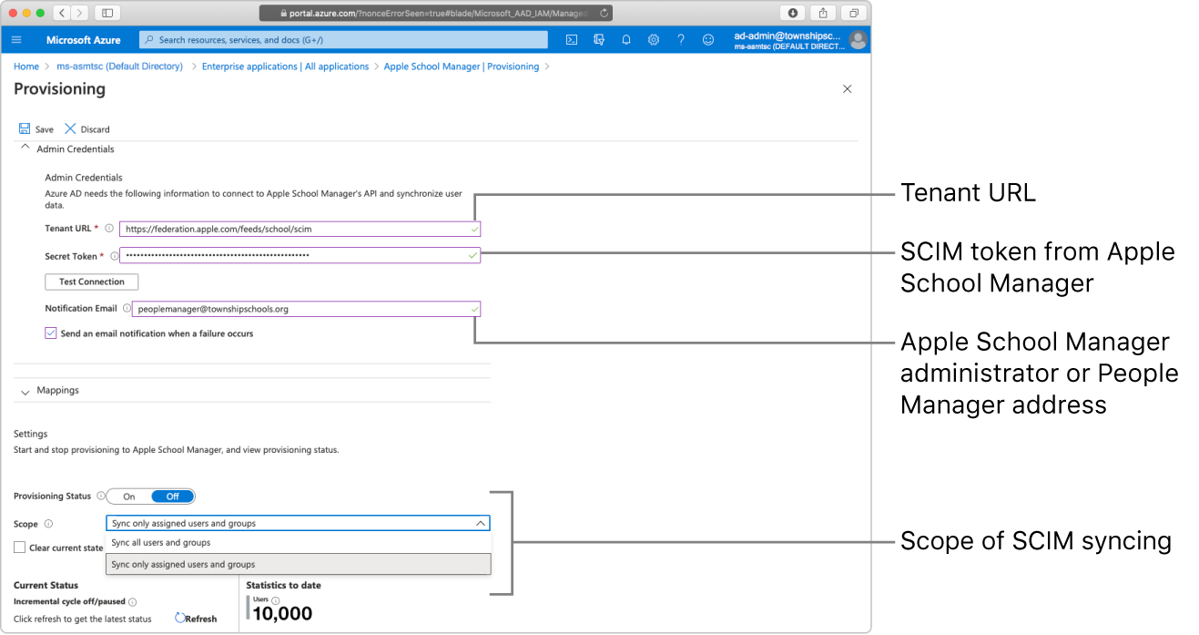 La finestra di MicrosoftAzureAD che mostra le due opzioni dell'ambito del provisioning.