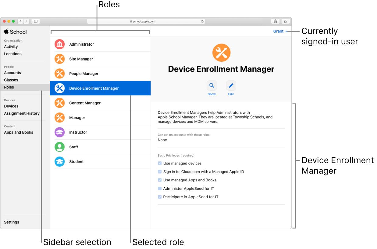 Fönstret Roller i AppleSchoolManager. En vald roll öppnas med en beskrivning av den rollens behörigheter för användaren som är inloggad.
