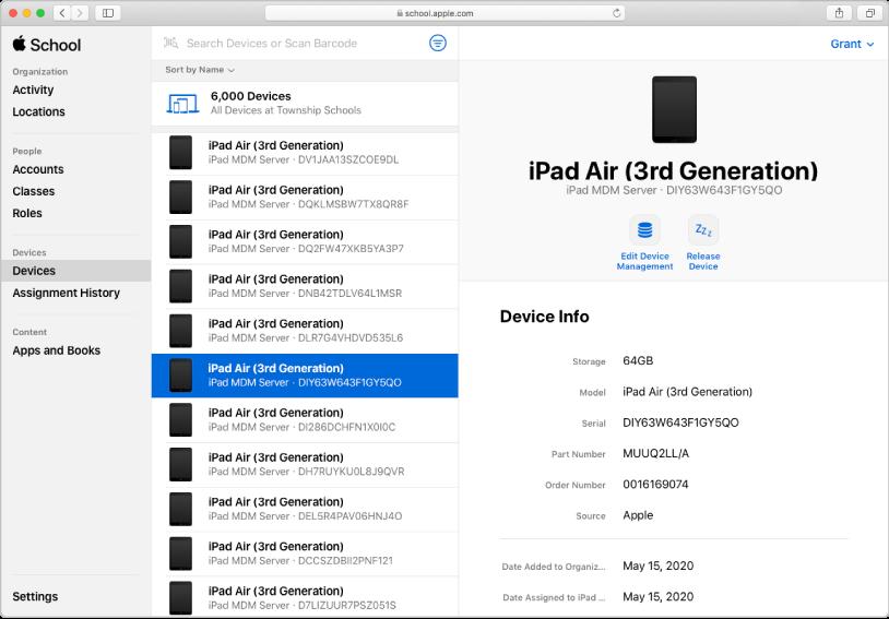 Apple 校园教务管理移动设备管理 (MDM) 服务器,其中显示了设备及其分配信息。