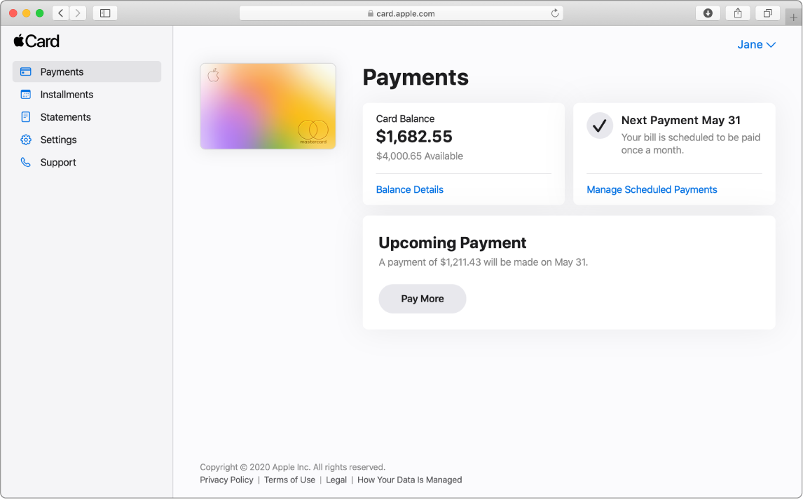 The Payments page in a Safari window. There are three sections, showing the following: the card balance, the monthly scheduled recurring payment, and an upcoming payment.