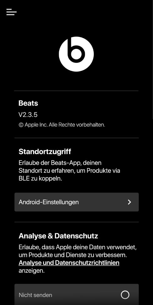 Einstellungen der Beats-App mit derVersion der Beats-App, den Einstellungen für den Standortzugriff sowie den Analyse- und Datenschutzeinstellungen