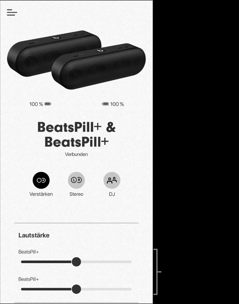 """Bildschirm der Beats-App im Modus """"Verstärken"""" mit der Lautstärkesteuerung für zwei Lautsprecher"""