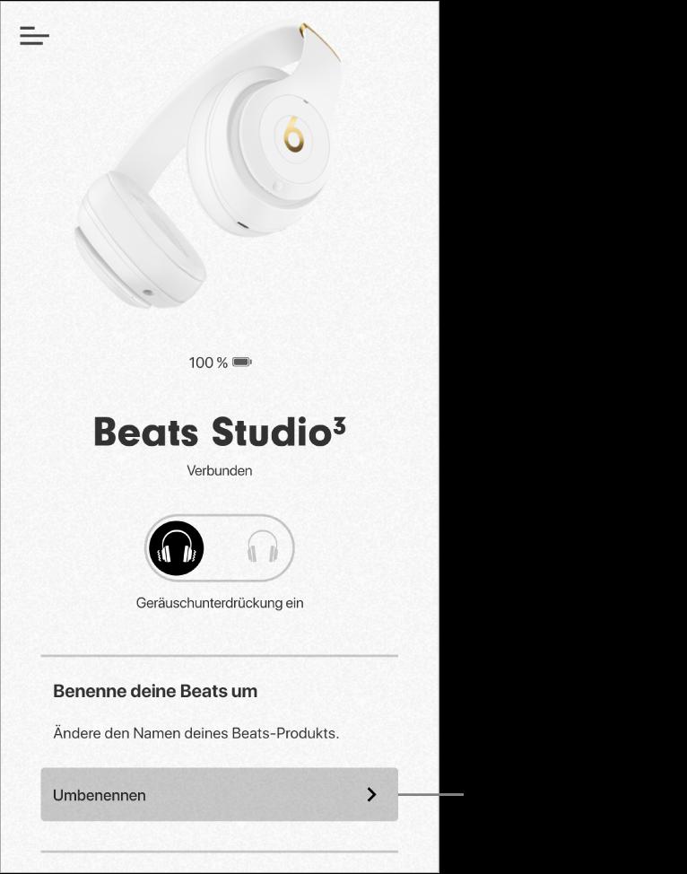 """Studio3-Gerätebildschirm mit der Taste """"Umbenennen"""""""