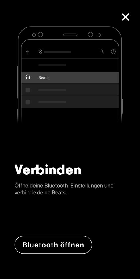 """Verbindungsbildschirm mit Taste """"Bluetooth öffnen"""""""
