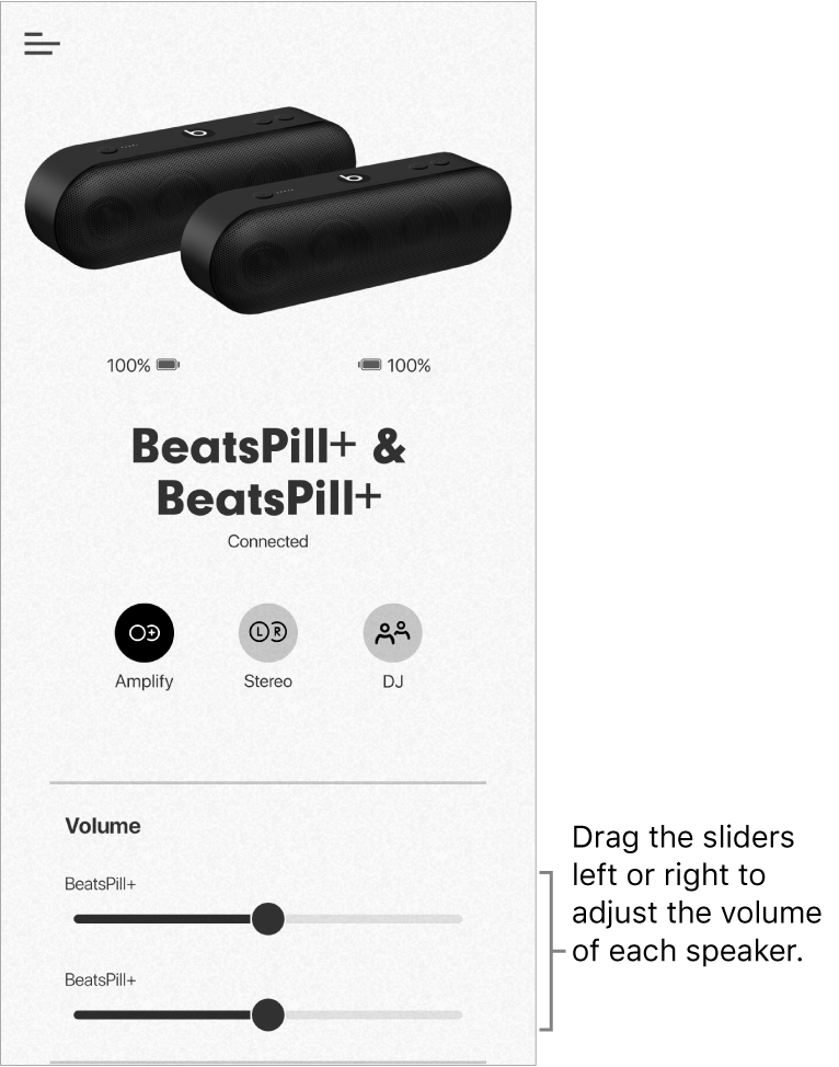 Beats app screen in Amplify mode showing volume controls for two speakers