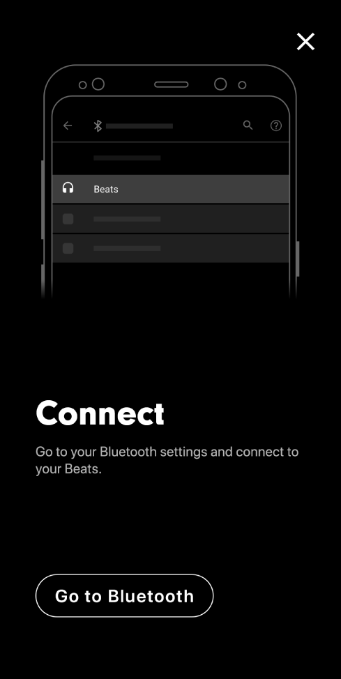 Connect screen showing Go to Bluetooth button