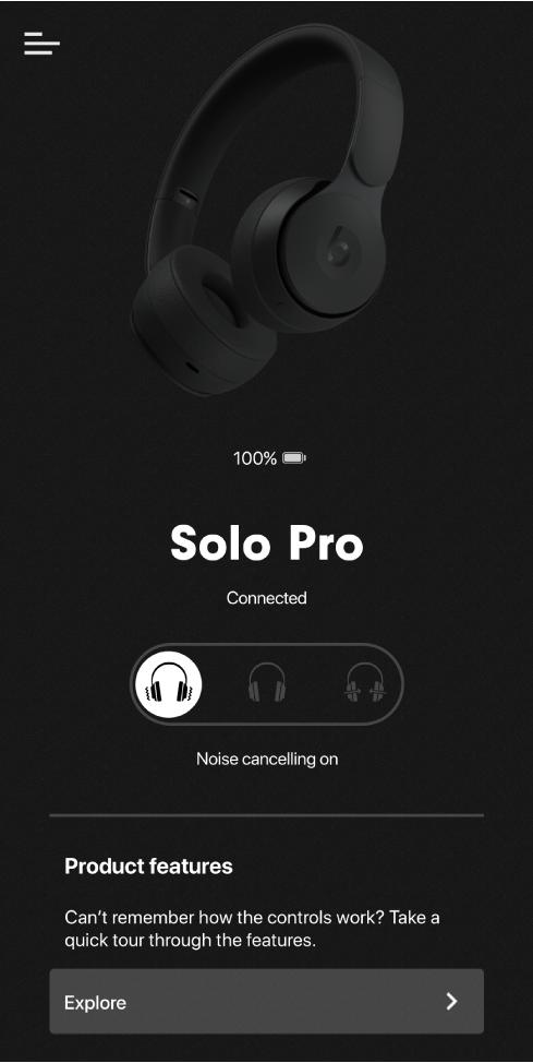 Solo Pro device screen