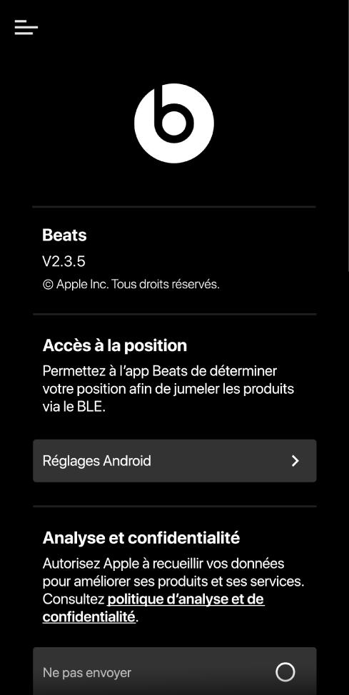 Les réglages de l'app Beats affichant la version de l'app Beats et les réglages relatifs à l'accès à la position, l'analyse et la confidentialité