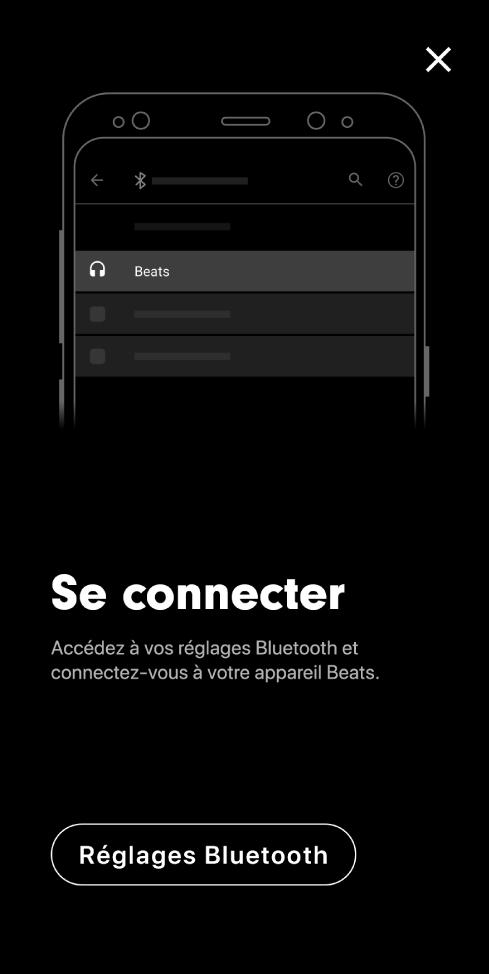 Écran de connexion présentant le bouton «Réglages Bluetooth»