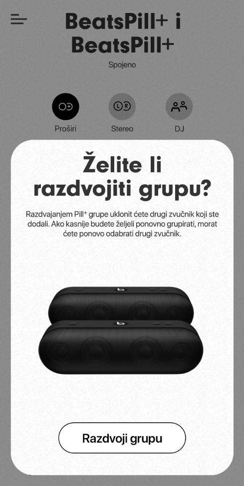 Aplikacija Beats prikazuje karticu Razdvoji grupu