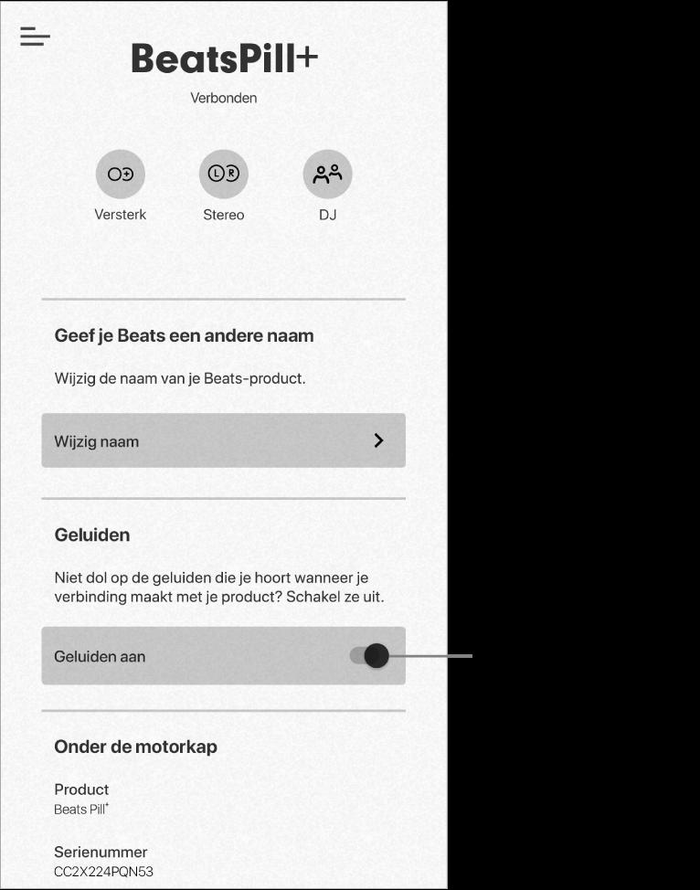 Regelaar 'Geluiden' in het apparaatscherm van de Beats-app