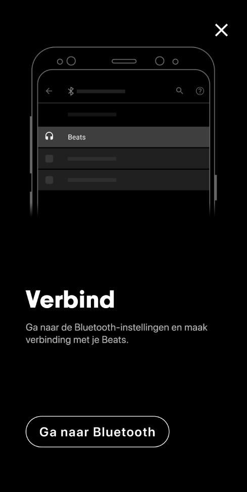 Verbindingsscherm met de knop 'Ga naar Bluetooth'