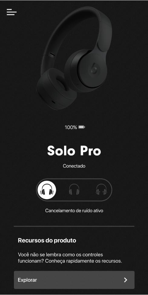 Tela do dispositivo Solo Pro