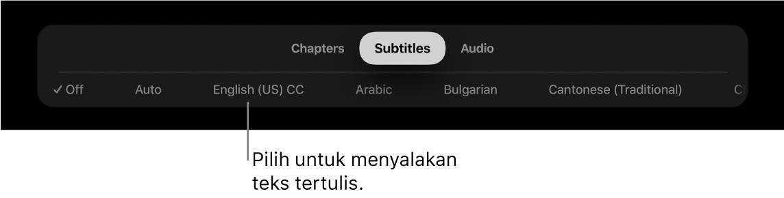 Menu subtitle selama pemutaran