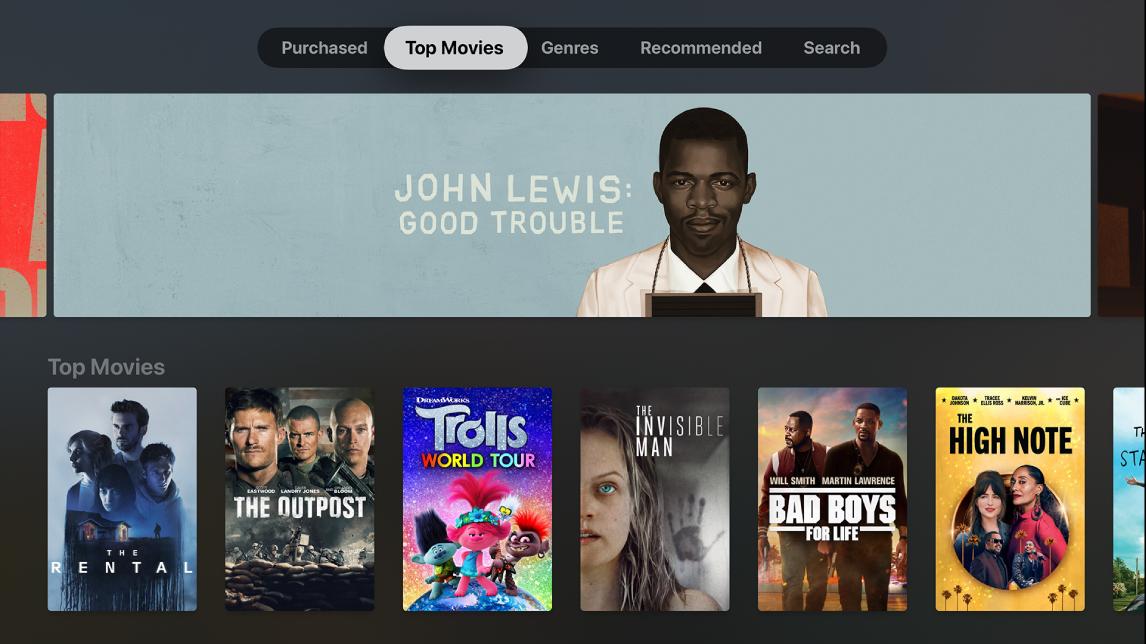 Pakalpojuma iTunes Movies sākuma ekrāns