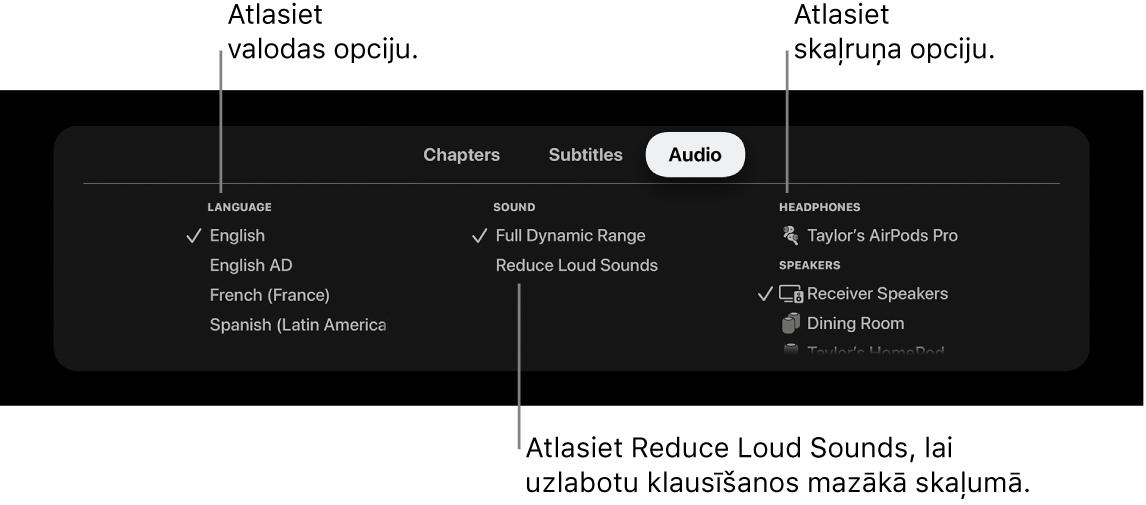 Atskaņošanas ekrāns, kurā redzama nolaižamā izvēlne Audio un ir atlasīta opcija Reduce Loud Sounds
