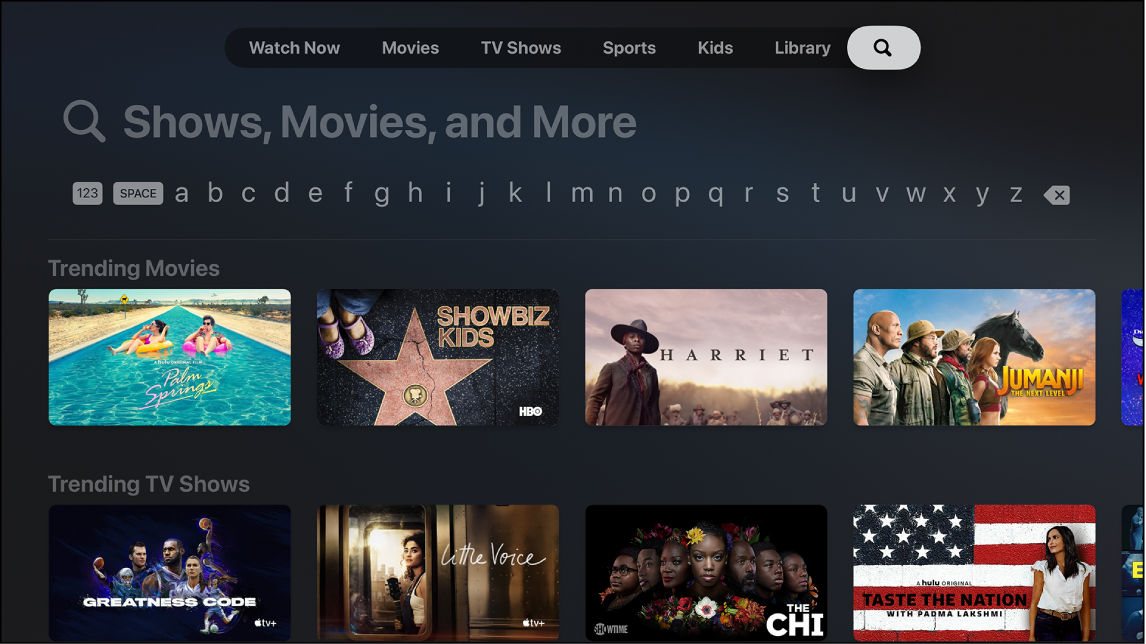 Zaslon, ki prikazuje možnost Search