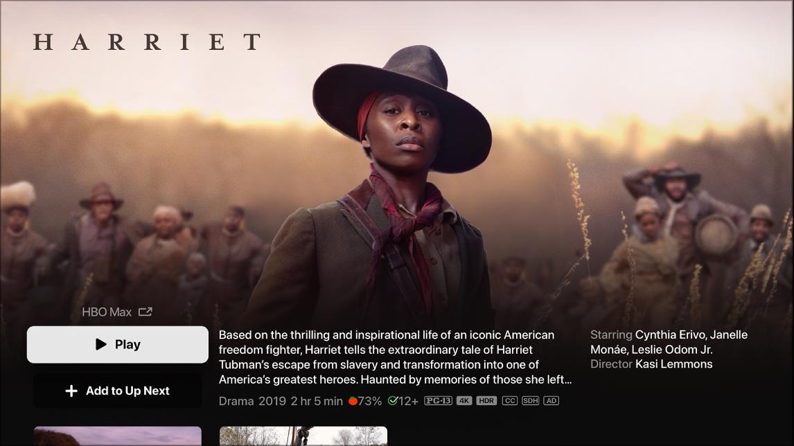 Zaslon z informacijami o filmu