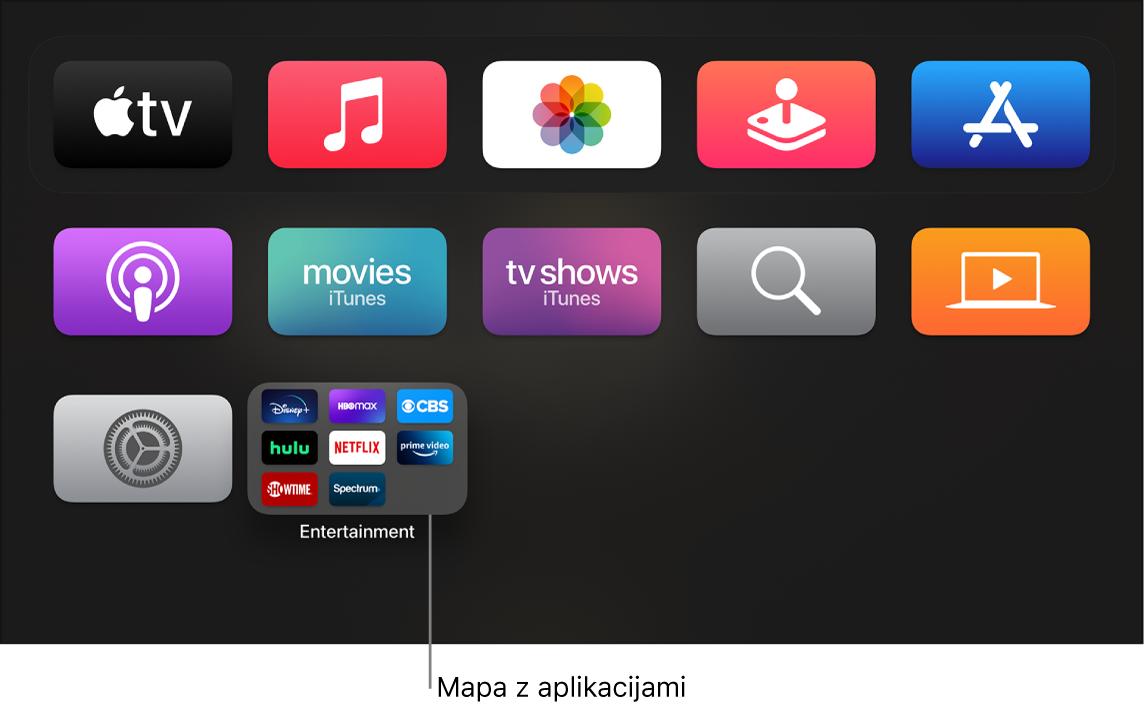 Zaslon Home, ki prikazuje mapo z aplikacijami