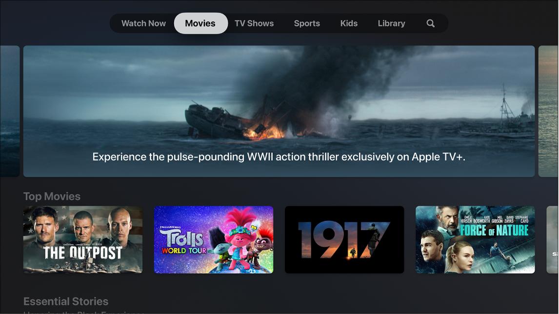 Zaslon, ki prikazuje možnost Movies