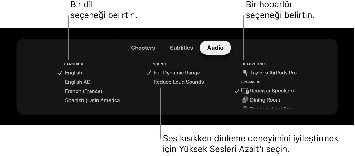Ses aşağıda ve Yüksek Sesleri Azalt seçili gösteren Oynatma ekranı