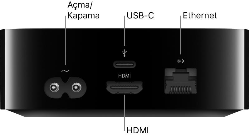 Kapılarına belirtme çizgileriyle Apple TV HD'nin arkası