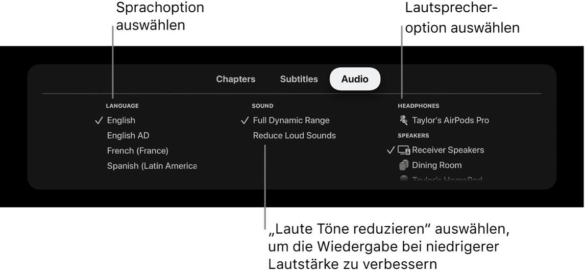"""Wiedergabebildschirm mit Einblendmenü """"Audio"""" und ausgewählter Option """"Laute Töne reduzieren"""""""