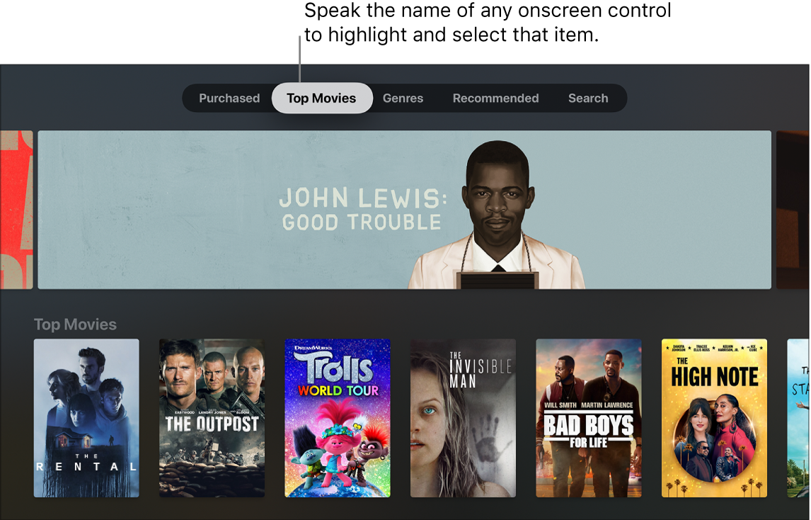 iTunes Movies Store showing menu commands that can be spoken