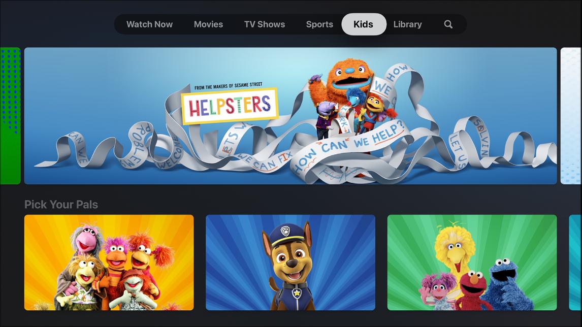 Screen showing Kids
