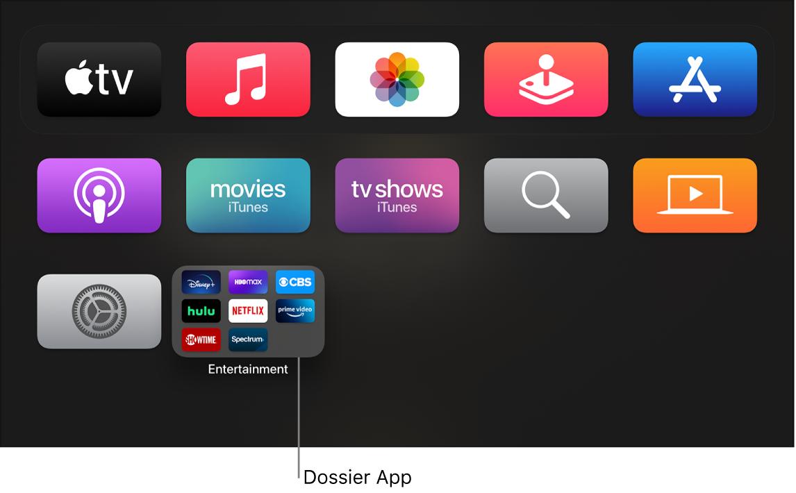 Écran d'accueil présentant un dossier d'apps