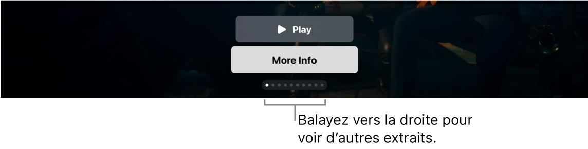 Commandes d'aperçu supplémentaires sur l'écran d'accueil