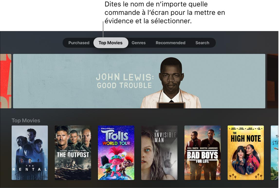 iTunesStore avec les commandes de menu pouvant être prononcées