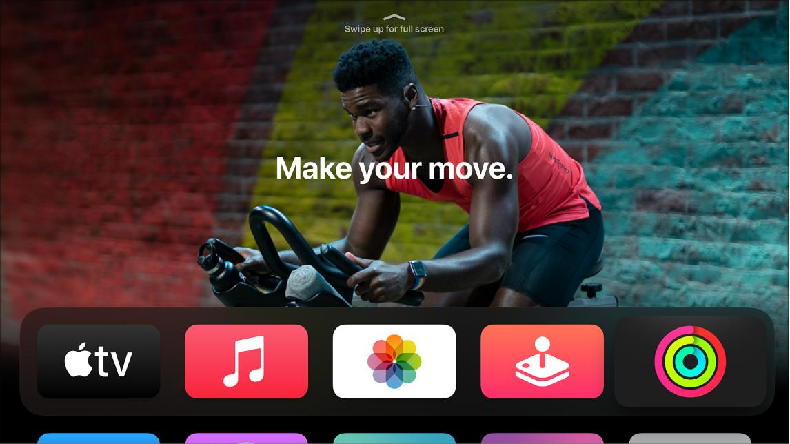 Hjem-skjermen som viser Mosjon-appen på den øverste raden.