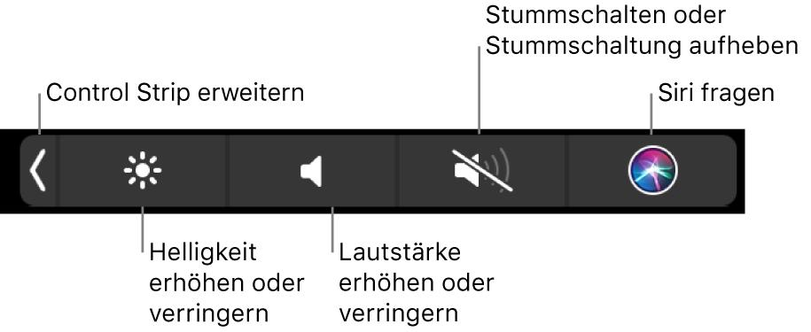 Der reduzierte Control Strip mit Tasten (von links nach rechts) zum Erweitern des Control Strip, Erhöhen oder Reduzieren der Bildschirmhelligkeit und Lautstärke, Aktivieren oder Deaktivieren der Stummschaltung und Verwenden von Siri