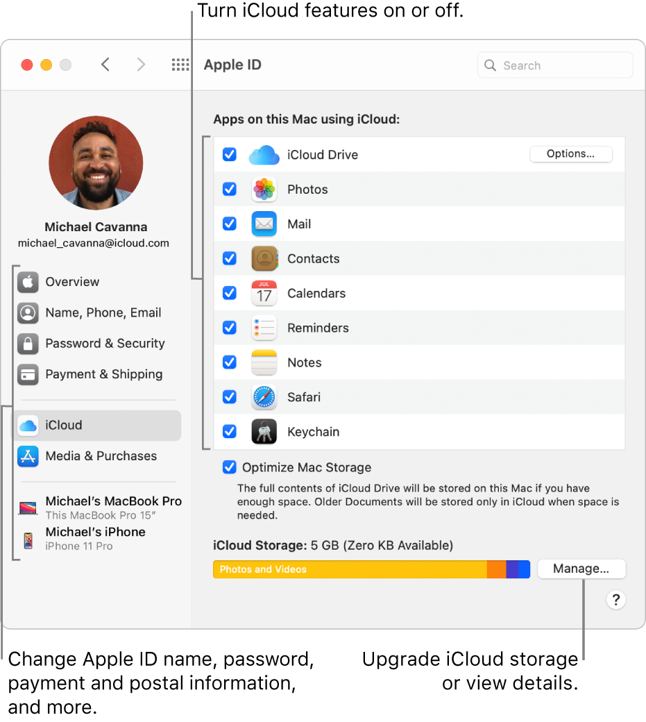 iCloud preferences with all the features selected.