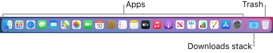 The Dock showing icons for apps, the Downloads stack, and the Bin.