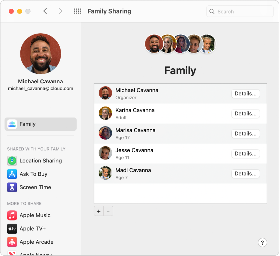 Family Sharing preferences showing a sidebar of different types of account options you can use and the Family preferences for an existing account.