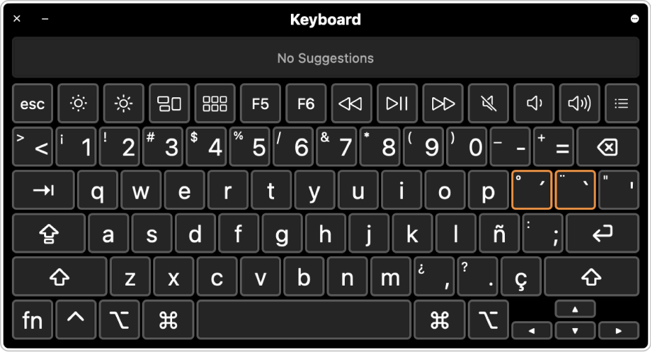 The Keyboard Viewer with the Spanish layout.