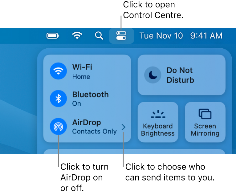 A Control Centre window showing the controls to turn AirDrop on or off and choose who can send items to you.