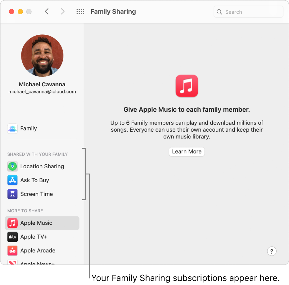 Family Sharing preferences showing a sidebar of different types of subscriptions in the side bar that you can set up and use.