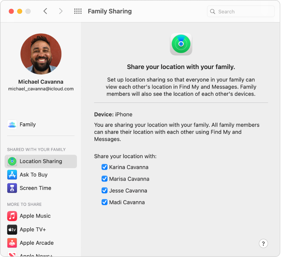 Family Sharing preferences showing a sidebar of different types of account options you can use and the Location Sharing preferences for an existing account.