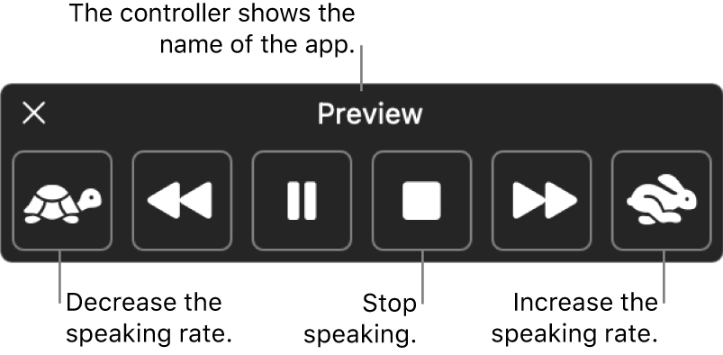The onscreen controller that can be shown when your Mac speaks selected text. The controller provides six buttons which, from left to right, let you decrease the speaking rate, skip back one sentence, play or pause the speaking, stop the speaking, skip forward one sentence, and increase the speaking rate. The name of the app is shown at the top of the controller.