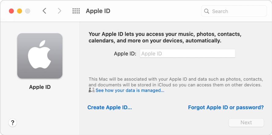Apple ID dialog ready for entry of an Apple ID. A Create Apple ID link allows you to create a new Apple ID.
