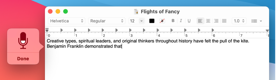 The feedback window alongside dictated text in a TextEdit document.