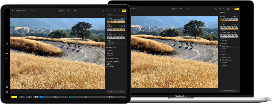 An iPad Pro next to a MacBook Pro. The Mac desktop shows a photo being edited in the Photos app. The iPad Pro shows the same photo, as well as the Sidecar sidebar at the left edge of the screen and the Mac Touch Bar at the bottom of the screen.